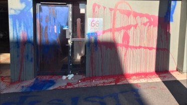 Vandals have targeted the LNP headquarters in Bowen Street, Spring Hill, Brisbane.
