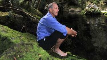 Bob Brown on the banks of the Gordon River in Tasmania.