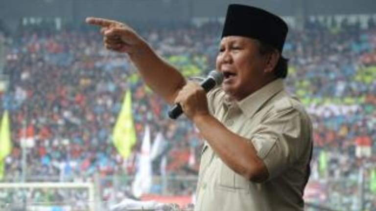 Former general Prabowo Subianto addresses a rally in Jakarta during the 2014 presidential campaign.