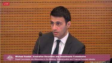 Michael Saadat giving evidence at the banking royal commission on behalf of the corporate regulator in June 2018.