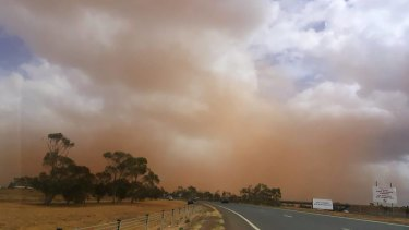 The dust storm in Melbourne's western suburbs on Wednesday.