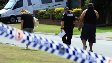 The scene in Kippa-Ring in 2016 as Mrs Peniamina's family speaks with police.