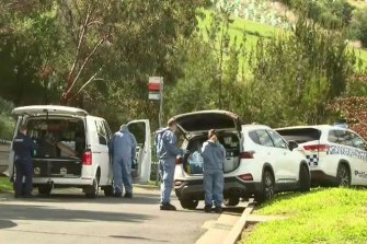 Police investigators after the woman was stabbed in a Gowanbrae park last year.