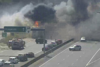 Smoke billowing from the burning truck on the Eastern Freeway.