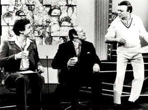 Don Lane with guest Kerry Packer and Bert Newton on the Don Lane Show.