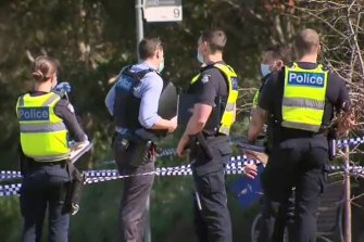 Police at the scene of the stabbing in Gowanbrae last year.