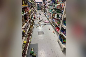The floor of the Tokomaru Bay Four Square after the earthquake struck in the early hours of Friday morning.