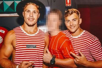 Jack de Belin (left) and Callan Sinclair (right) on a pre-Christmas pub crawl in Wollongong in 2018.