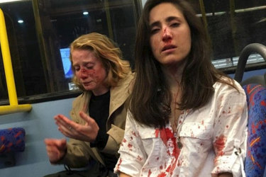 Melania Geymonat and her girlfriend say they were attacked on the top deck of a London night bus.