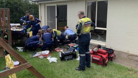 Man critical after being flung from quad bike through window