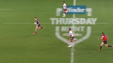 Ryan Papenhuyzen sprints away for a spectacular 80-metre solo try against Wests Tigers on Thursday night.