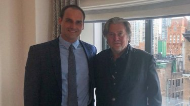 Brazilian congressman Eduardo Bolsonaro, left, meets with former Trump chief strategist Steve Bannon in New York in the lead up to his father's presidential election win in 2018.