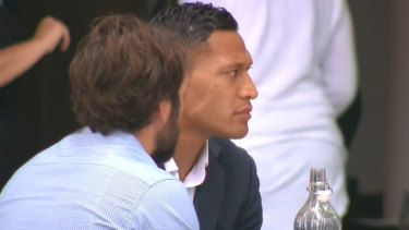 Israel Folau at a cafe on Friday before fronting Rugby Australia at its Sydney headquarters.