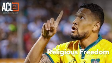 Fund-raiser: The Australian Christian Lobby webpage requesting donations for Israel Folau's fighting fund.