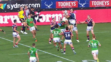 The NRl says the refs should not have awarded the Raiders six again before Jack Wighton's try.