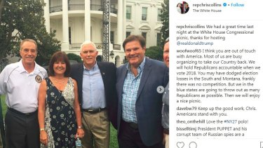 Chris Collins (on left) at the congressional picnic on the White House south lawn on June 22, the event at which he allegedly engaged in insider trading.