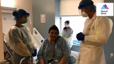 Janet Mendez appeared in a video forMount Sinai Morningside hospital in New York after her recovery from coronavirus.