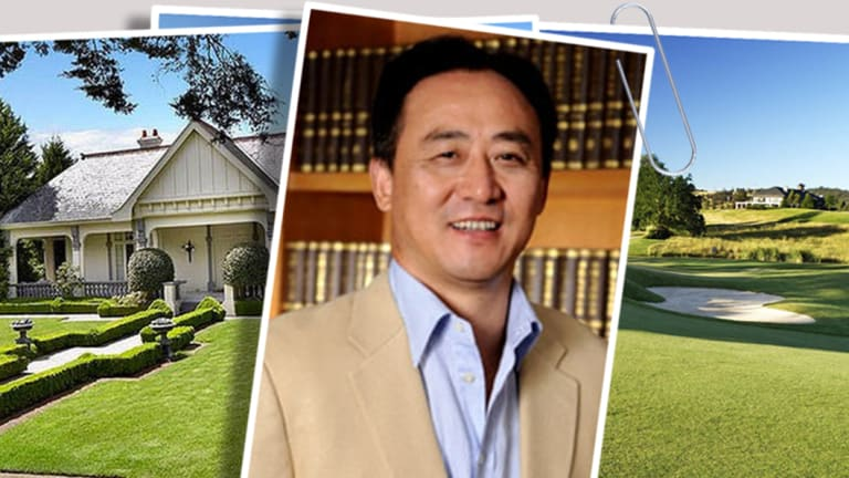 Wang Hua with the house in St Georges Road, Toorak he bought  for $18.5 milllion in 2013 and the Heritage Golf and Country Club in Chirnside Park.