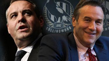 Collingwood president Mark Korda (left) and challenger Jeff Browne.