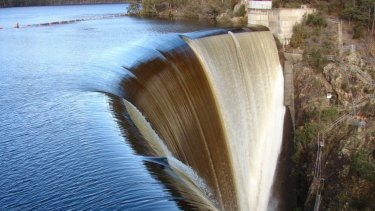Hydro Tasmania's Devils Gate Dam spill. The state is tracking well to meet its target for 100 per cent renewable energy, including hydro power, by 2022.