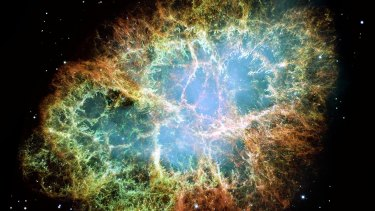 Hydrogen is the most abundant element in the universe and can be harnessed as a low-emissions energy. Pictured, NASA's Hubble Space Telescope captures an expanding remnant of a star's supernova explosion. The orange filaments are star remnants consisting mostly of hydrogen.