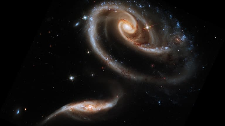 A group of interacting galaxies called Arp 273, captured using the Hubble Space Telescope in Baltimore.