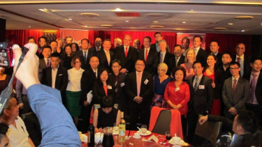 The 2015 Chinese Friends of Labor fundraising dinner. Huang Xiangmao can bee seen standing next to federal Labor MP Chris Bowen.