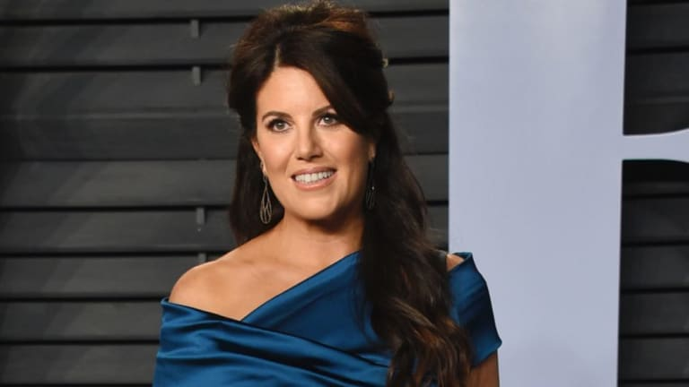 Monica Lewinsky, pictured at an Oscars Party in March, walked off the stage after she was asked about Bill Clinton.