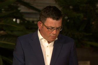 Premier Daniel Andrews at the emergency press conference on Thursday night.