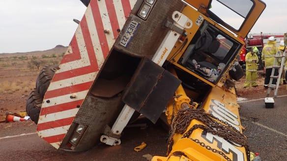 Pilbara driver in critical condition after 25-tonne crane tips near Roebourne