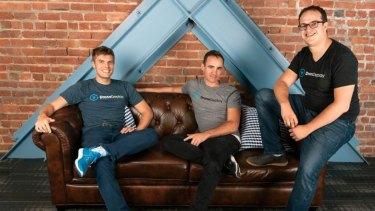 Founders of US startup DroneDeployJono Millin, Nick Pilkington, and Mike Winn.