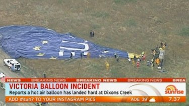 A hot air balloon after it crashed in Dixons Creek earlier this year.