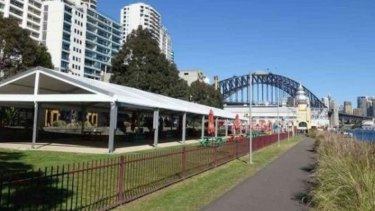 Luna Park's operators want to use Lavender Green, an outdoor lawn area stretching between Sydney Harbour and apartments at Milsons Point, for events in marquees as well as temporary rides and amusements.