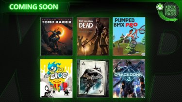 The lineup being added to Game Pass in February includes new release Crackdown 3, the recent Shadow of the Tomb Raider and a collection of older Batman Arkham games.
