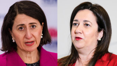Politician in a pearl earring: Gladys Berejiklian; Queensland Premier Annastacia Palaszczuk.