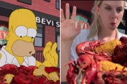 Janine Wiget of Zurich and Katrin von Niederhausern have recreated Homer Simpson's epic New Orleans restaurant crawl. Not for any other use. You Tube grabs.