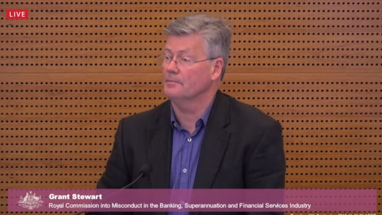 Grant Stewart appearing before the royal commission.