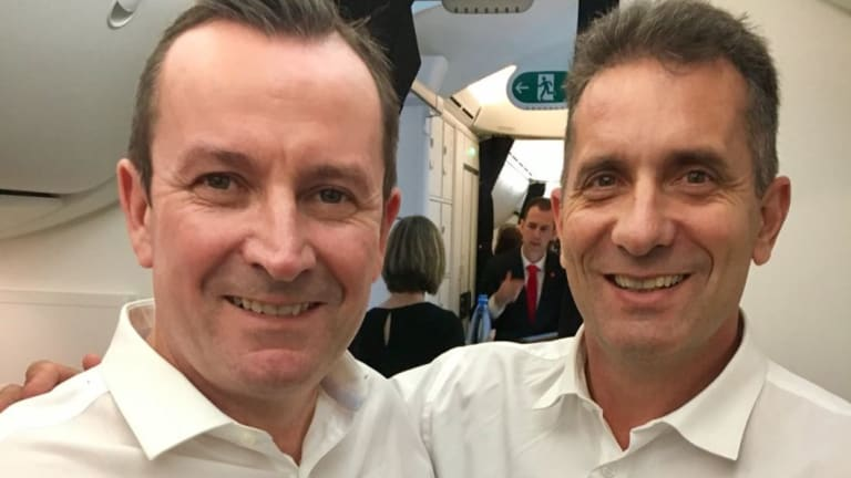Premier Mark McGowan and Tourism Minister Paul Papalia on the first non-stop flight from Perth to London, which cost taxpayers $53,000.