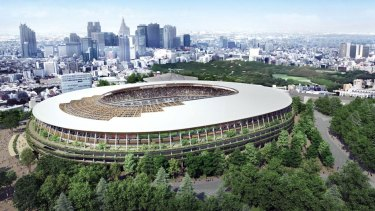 An Olympic stadium design, by Kengo Kuma, for the Tokyo 2020 Olympics.