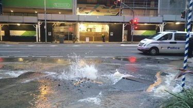 Makerston Street in the CBD has been closed due to a burst water main, with delays in the area expected.