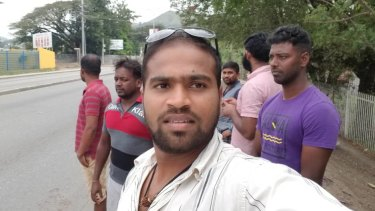 ShamindaKanapathi on his arrival, after six years on Manus Island, for his new life in Port Moresby on Thursday.