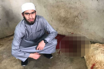 Isaac el Matari posted this photo of himself next to a slaughtered sheep from his trip to Lebanon.