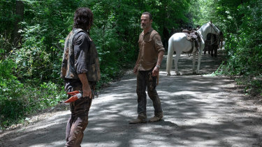 Rick's white horse is an echo of the very first episode of the series, when he rode into a deserted Atlanta.