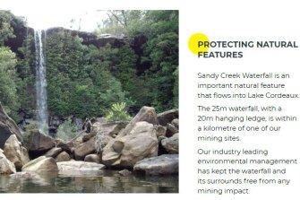 A description of Sandy Creek Waterfall within the Special Areas.