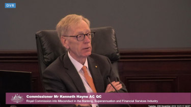 Commissioner Kenneth Hayne at the Royal Commission.