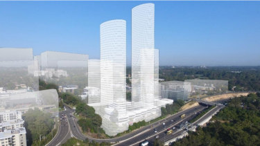 The original plan from Meriton that included a 63-storey tower was rejected by Ryde Council.
