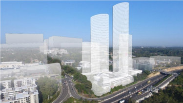 The original plan from Meriton that included a 63-storey tower was rejected by Ryde Council. The latest plans are for a 42-storey tower.