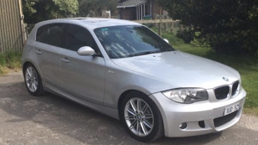 Michael Mammone's silver 2008 BMW 118i sedan, with Victorian registration XUD525.