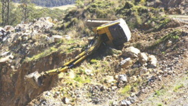 The excavator that Ryan Messenger was operating.