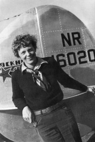 Aviator Amelia Earhart pictured with her Lockheed Electra10E before her ill fated quest to fly around the world.